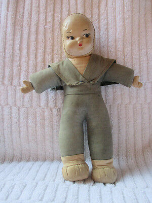 """Haunting doll that drown little sailor doll cloth 8.5"""" washed ashore old"""