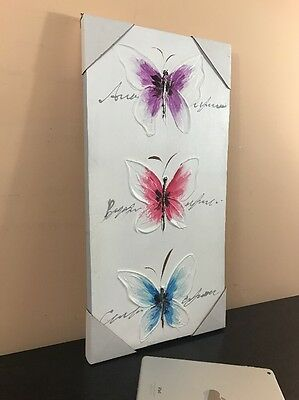 Wall Art Painting Canvas FRAMED Home Decor Three Butterfly Abstract (12X24)