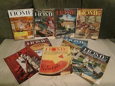 LOT of 9-The American Home Vintage Magazines years ''58-'62, Ads, Recipes, Decor