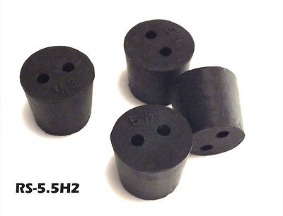 5-1/2 Black Rubber Laboratory Stoppers Size 5.5 2-HOLE STOPPER 4/pk RS-5.5H2