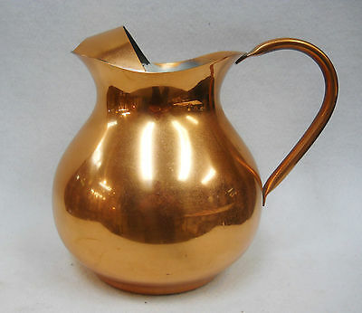Copper Water Pitcher with Ice Lip - Food Safe