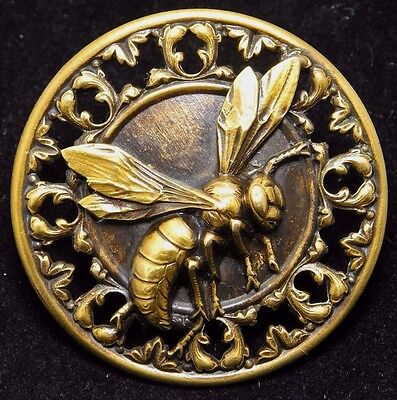 LARGE Antique Button FLYING WASP Tinted Pierced BRASS 1.60""