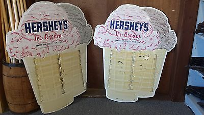 """Hershey's Ice Cream Menu Vintage Sign (Approximately 28 1/2"""" x 34"""") - Pair"""
