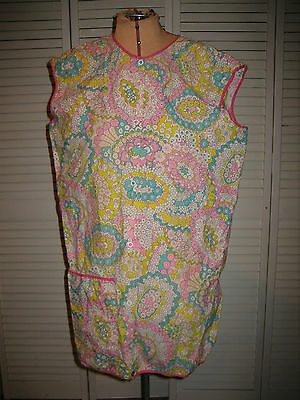 Bright Spring Color Smock Apron - One Pocket, Pink Piping, Snap Front - Size 42