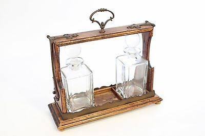 Antique 2 Glass Bottle Italian Tantalus Decanter Holder Brass on Wood Italy Made