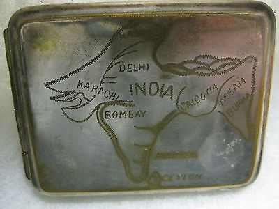 Wwii Us Army Soldier Or Aaf Air Force Hump Pilot Cbi India Map Cigarette Case