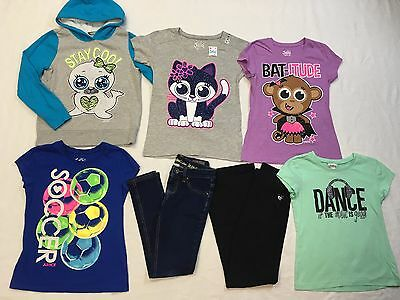 7 pc Justice Lot Sparkly T-shirts tops STAY COOL Hoodie Jeans Yoga Pants Sz 10