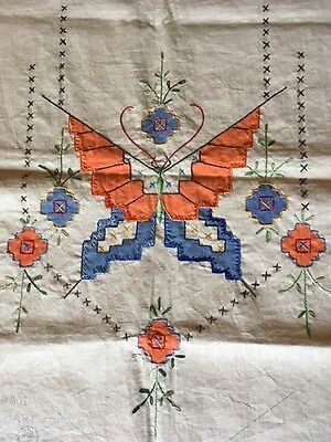 "Vintage Butterfly Embroidered Applique Dresser Runner Scarf 23.5""X15"""