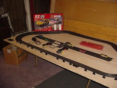 SCX Slot Car Set Compact Nascar Tri-Oval Superspeedway/  EXTRA ADDED ACCESSORIES