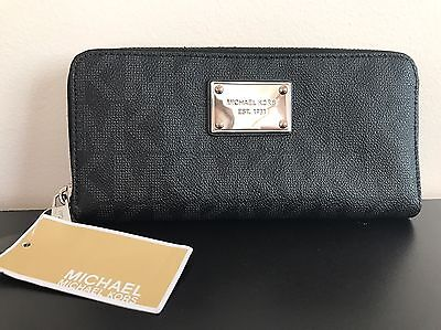 Michael Kors Jet Set Continental Wallet Black Silver Authentic