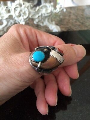 "Navajo"" Signed"" Sterling Silver Turquoise Claw Man's Ring"