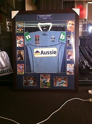 Andrew Johns Hand Signed Framed Nsw State Of Origin Jersey 30TH year