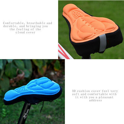 Cycling Bicycle Bike Soft Cushion 3D Gel Silicone Seat Pad Saddle Cover Case JUL