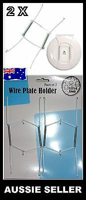 2 x Wire Plate Wall Display Spring Hangers Holder in white for Normal Size Plate