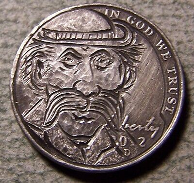"""Hobo Nickel, Engraved, Carved ,Scrimshaw,Coin Art ."""" CHOWMEIN CHARLIE  """""""