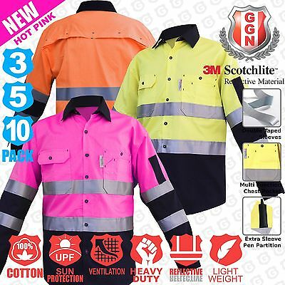 Hi Vis Shirts 3 5 10 pack Safety Work Wear Light Cotton Drill Vents 3m Hot Pink