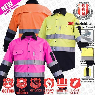 1x Hi Vis Shirts Cotton Drill Safety Work Light 155GSM Vents Back Cape 3M Tape