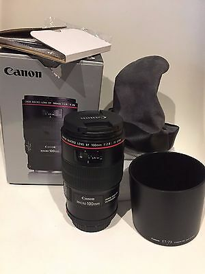 Canon EF 100mm f/2.8 USM IS L Macro camera Lens - like new complete in box