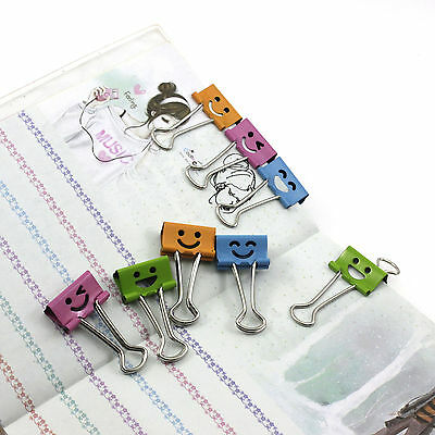 10Pcs Lovely Smiling 19mm Metal Office File Paper Binder Organizer Colorful Clip