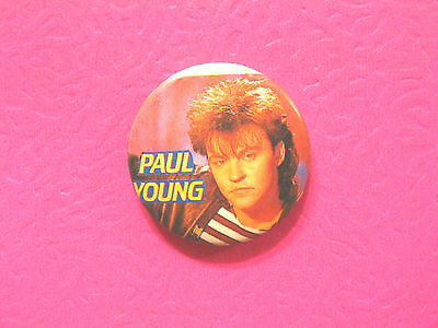 Paul Young Vintage Button Badge Pin Uk Import