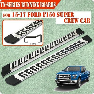 """Fit 15-17 Ford F150 Super Crew Cab 6 """" Running Board Nerf Bar Side Step S/S"""