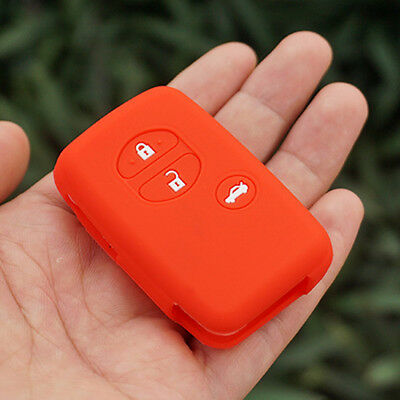 Red key fob Cover For Toyota Camry Highlander Crown Prado Venza 3 buttons