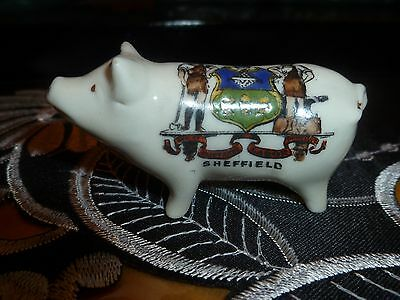"""Carlton Crested China Model of a """"Pig"""" Crest  of """"Sheffield"""""""