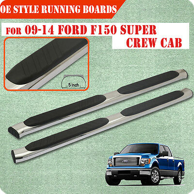 """Fit 09-14 Ford F150 Super Crew Cab 6 """" Running Board Nerf Bar Side Step S/S"""