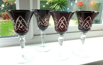 Set Of Four Vintage Deep Ruby to Clear Etched Wine Glasses