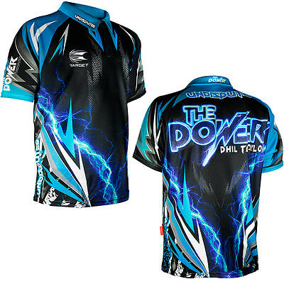 Phil Taylor - Target Authentic Replica Dart Shirt - Black & Blue - XS - 5XL
