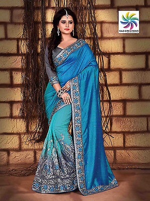 Indian Bollywood Traditional Designer Embroidered Blue Net Silk Party Wear Saree