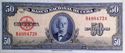 50 Pesos By The American Banknote Company. B498472A, 1958 Caribbean. a/UNC