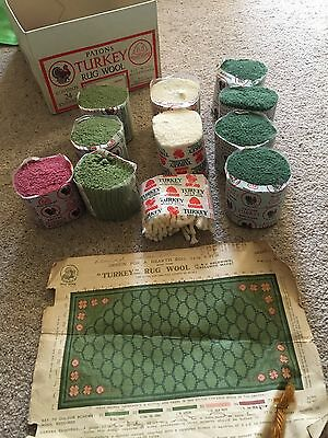 Patons Turkey Rug Wool- Green,Cream,pink.10 thrums. Original box & Design sheet