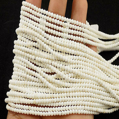 "5 Strand Howlite Rondelle Approx 2.80mm Micro Faceted Gemstone Beads 13"" Long"