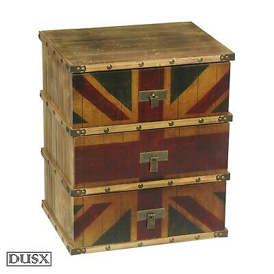 DUSX Vintage Retro Union Jack Boys Room Three Drawer Bedside Table
