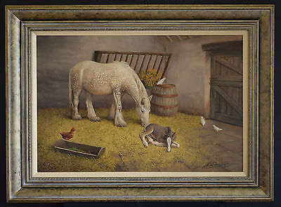 Fine Art Animal Horse Foal English Country Oil Painting Antique Style Frame