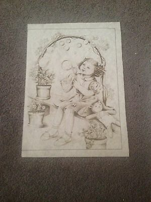 Vintage hobbytex. Little Girl Blowing Bubbles picture