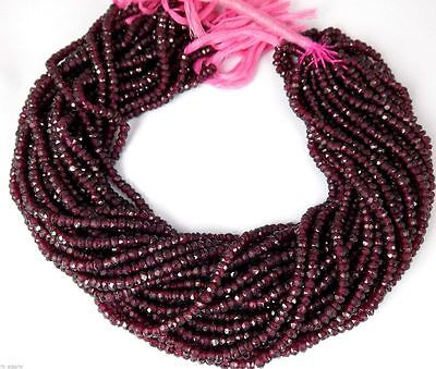 """AAA 5 Strand Natural Garnet Micro Faceted Gemstone Rondelle Beads 4mm 13"""" Long"""