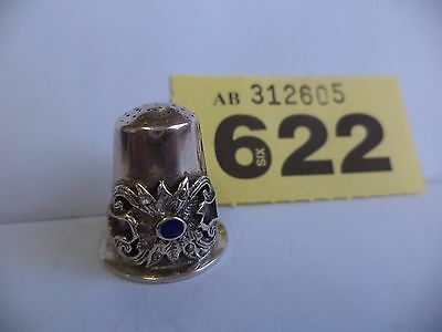 Vintage Continental / Scandinavian .925 Solid Silver Thimble with Blue Enamel