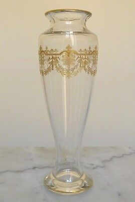 Baccarat crystal vase, Beauharnais pattern, gilt with fine gold