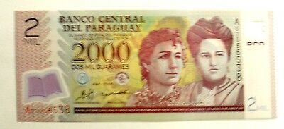 Banknote Paraguay 2000 Guaranies 2008 Issue   Unc Cond.