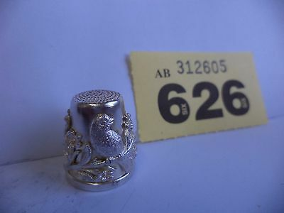 Vintage Continental / Euro Solid Silver Thimble with Bird & Floral Decoration