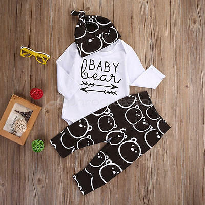 Cotton Newborn 6-9 Month Tops Pants Hat Baby Boys Girls Shirt Outfit Set Clothes