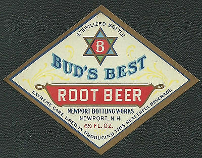 Vintage 1920's Bud's Best Root Beer Label Newport NH