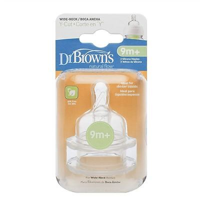 Dr Brown's Teats | Natural Flow | Y-Cut | Wide-Neck | 9 months+ 1 2 3 6 Packs