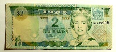 Banknote Fiji 2 Dollars  2002 Nd Issue Unc Cond.