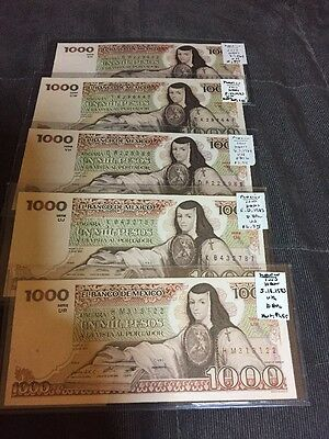 Mexico Banknotes 1000 Pesos Lot Of 5 1983 And 1984 Item #I