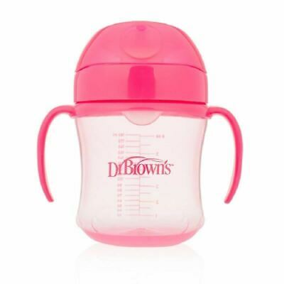 Dr Brown's Pink Training/Transition Cup Spill Proof 180ml 6m+ 1 2 3 6 Packs