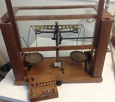 Vintage Scientific Apothecary/chemist Scales Becker & Son Glass Case