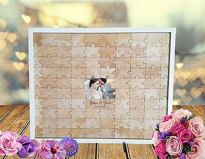 Wedding Jigsaw Puzzle Guestbook alternative, wooden, rustic, engagement, 96 pcs
